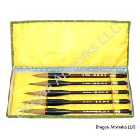 Five Brush Chinese Wolf Hair Art Brushes Set